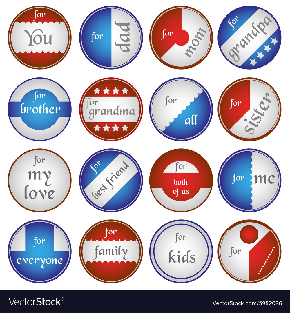 Blue and red gift round tags for gifts eps10 vector