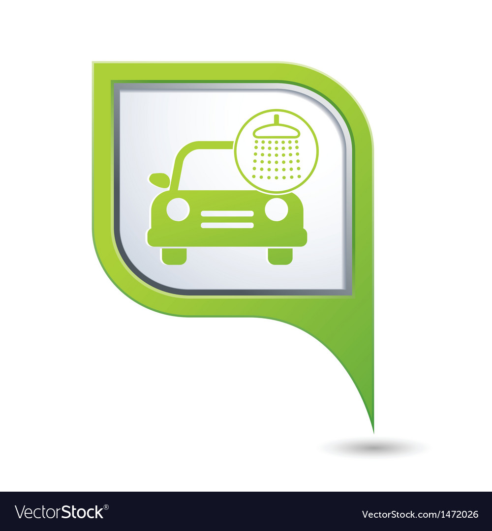 Car wash icon on green pointer vector