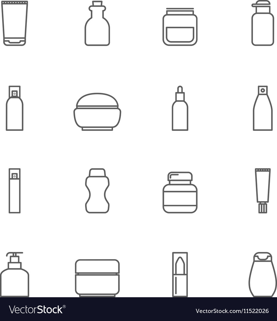 Cosmetic package line icons bottle tube spray vector