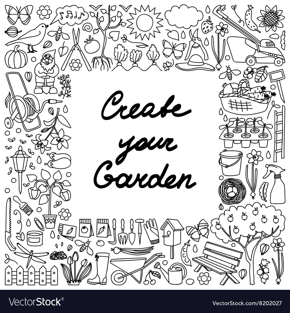Create your garden frame vector