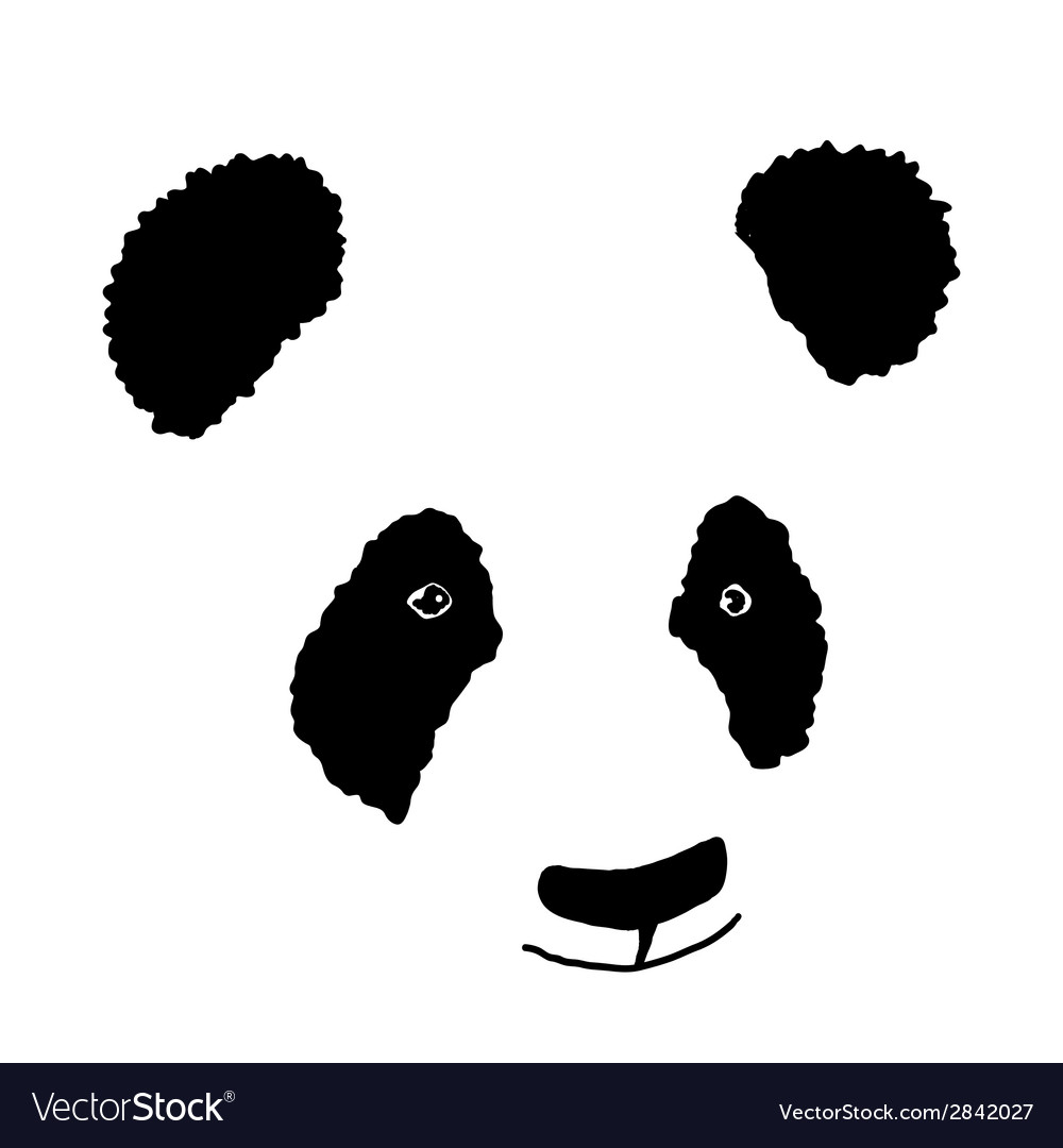 Simple hand drawn panda icon vector