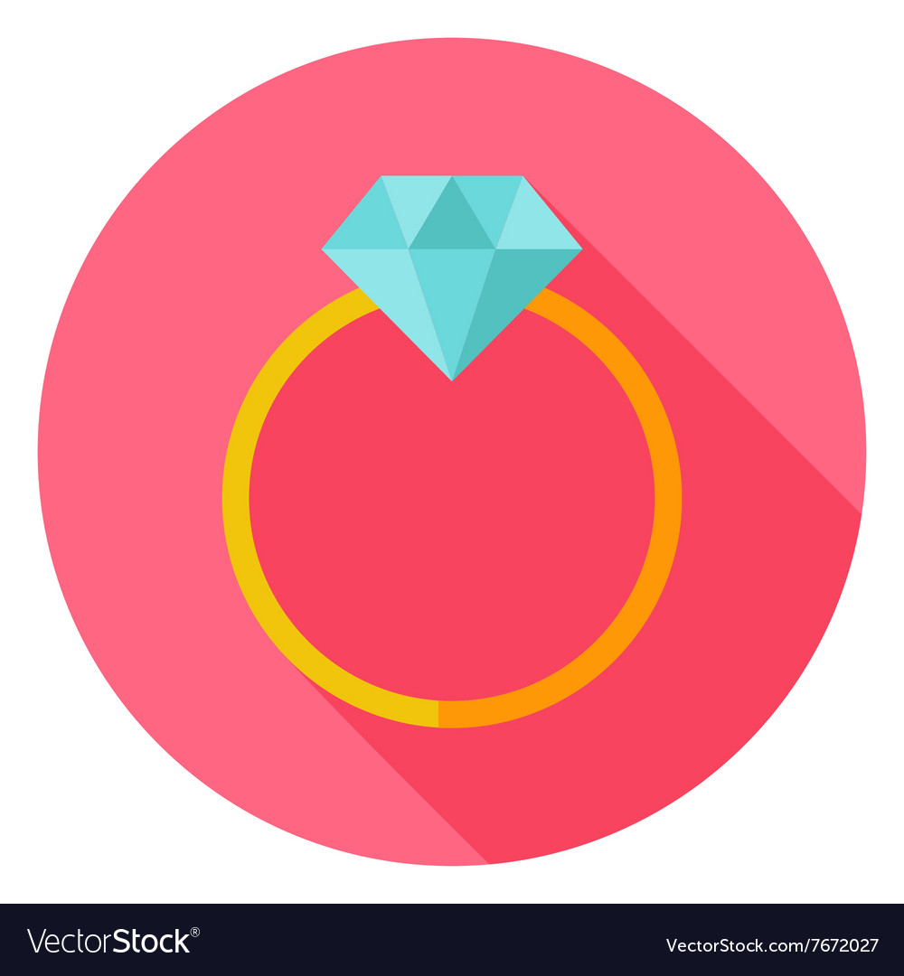 Wedding ring with diamond circle icon vector