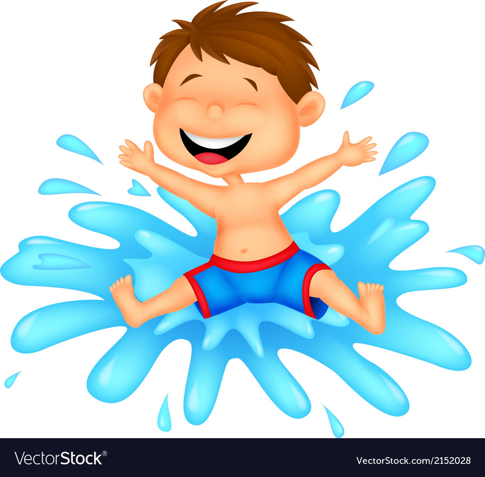 Boy cartoon jumping into the water vector