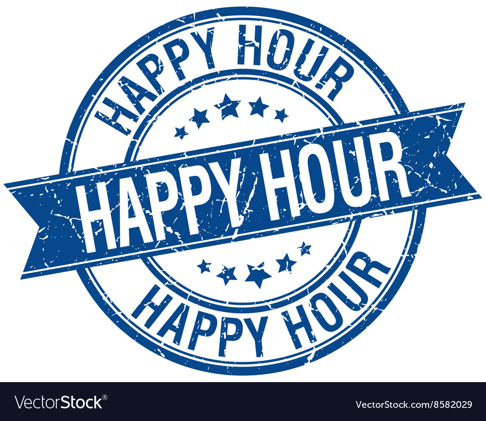 Happy hour grunge retro blue isolated ribbon stamp vector