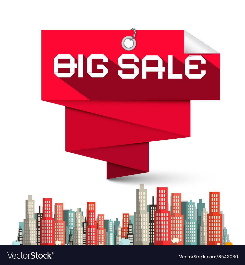 Big sale red label and skyscrapers vector
