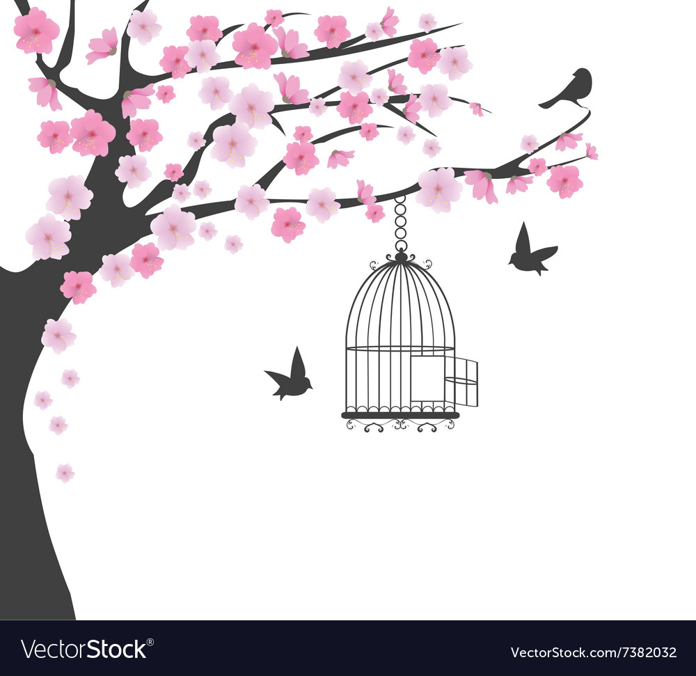 Bird cage cherry vector