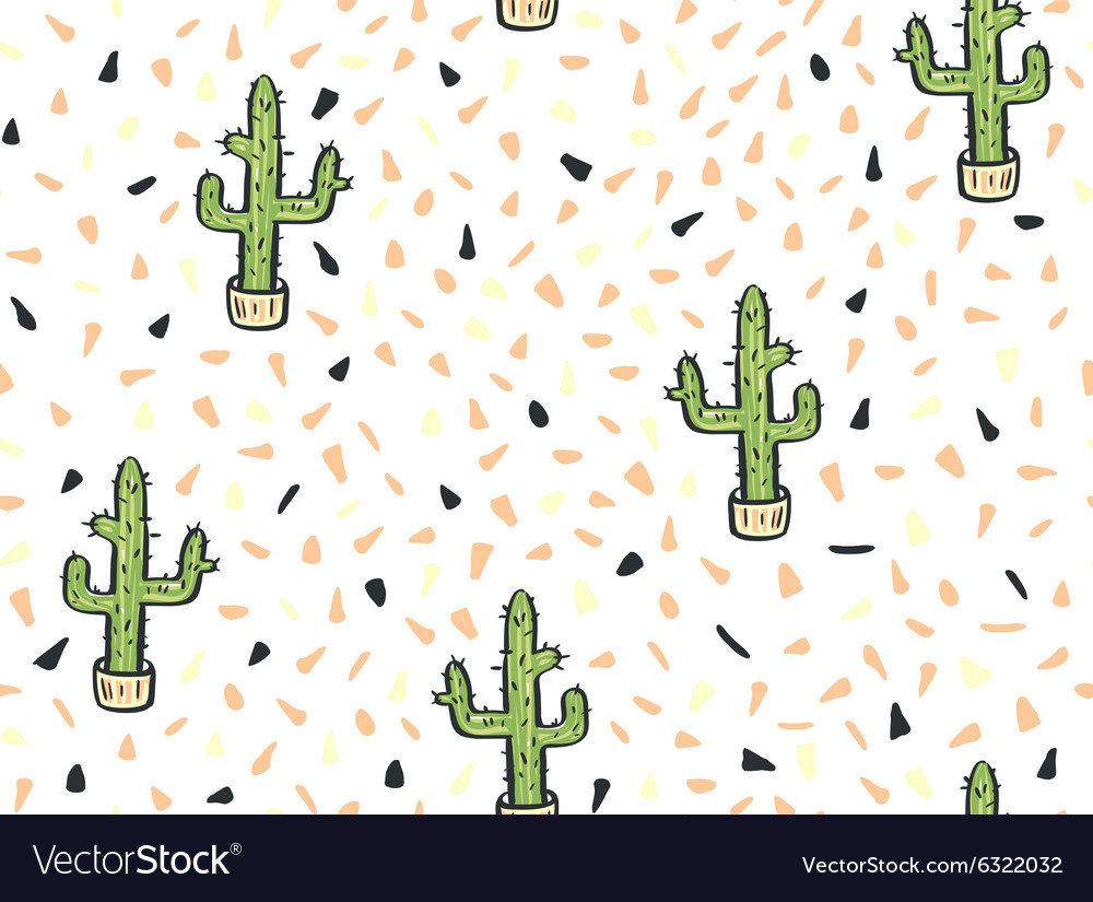 Cactus handdrawn seamless pattern vector