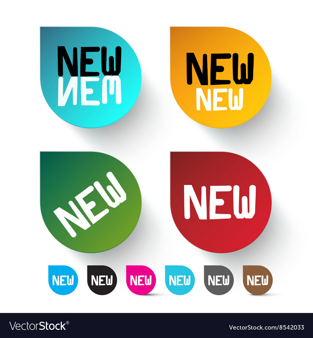 New labels set  colorful icons vector