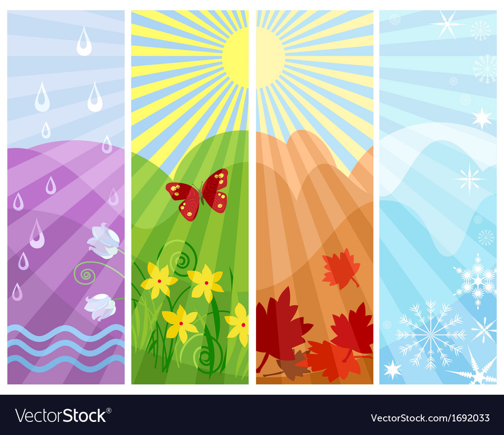 One year in four seasons vector