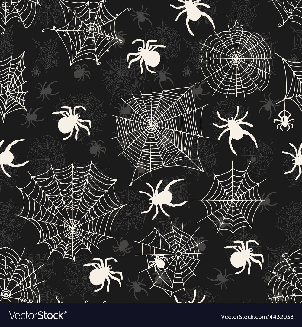 Seamless pattern with white spiders on an black vector