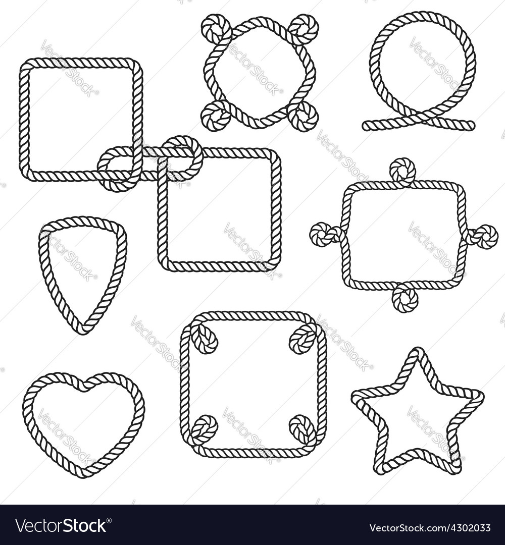 Set of nautical rope frames vector