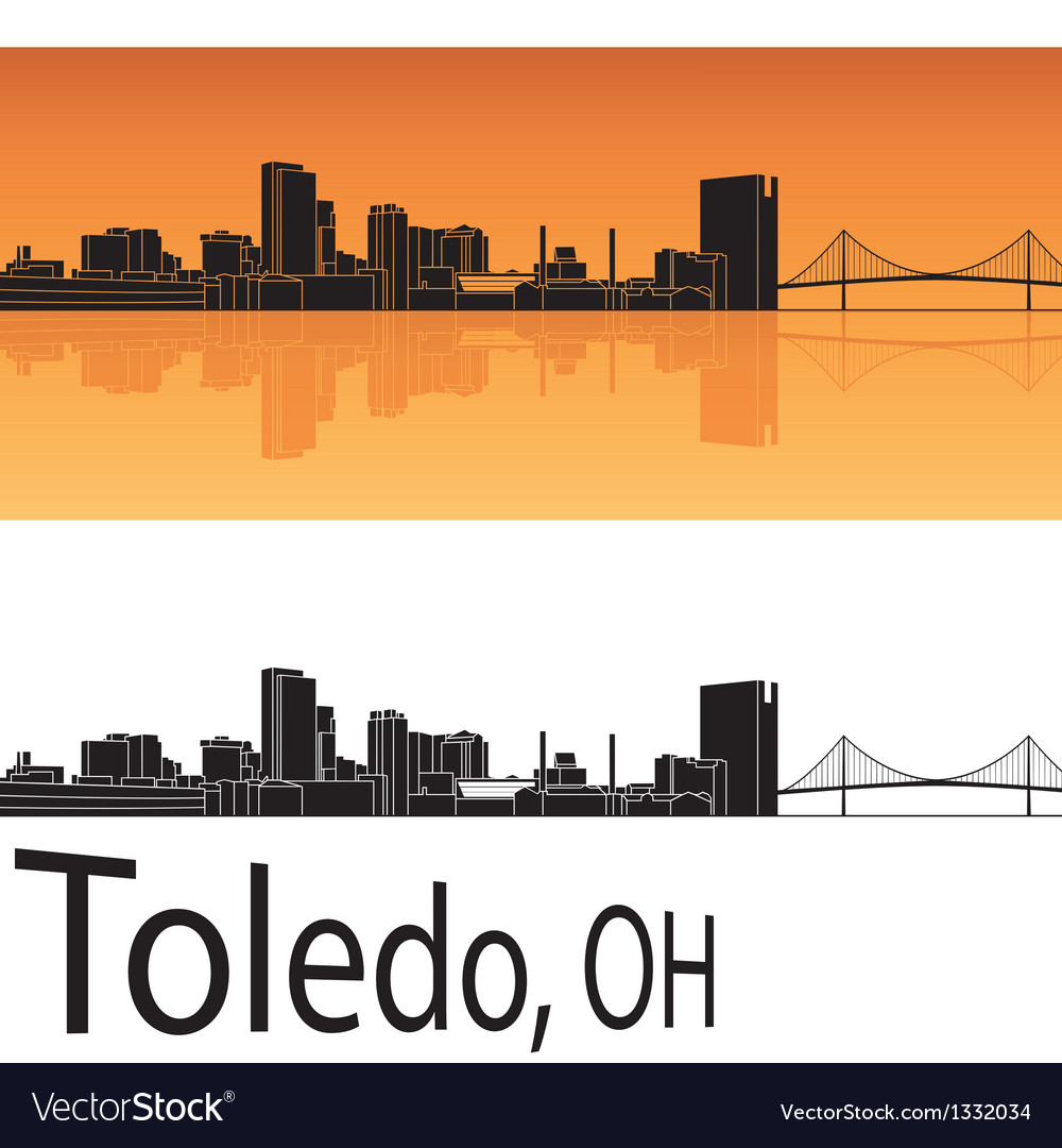 Toledo skyline in orange background vector