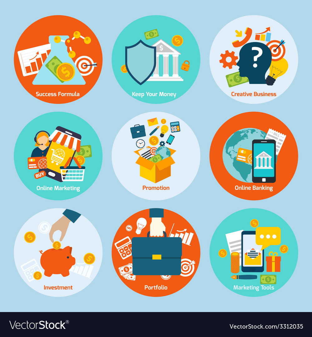 Business concept set vector