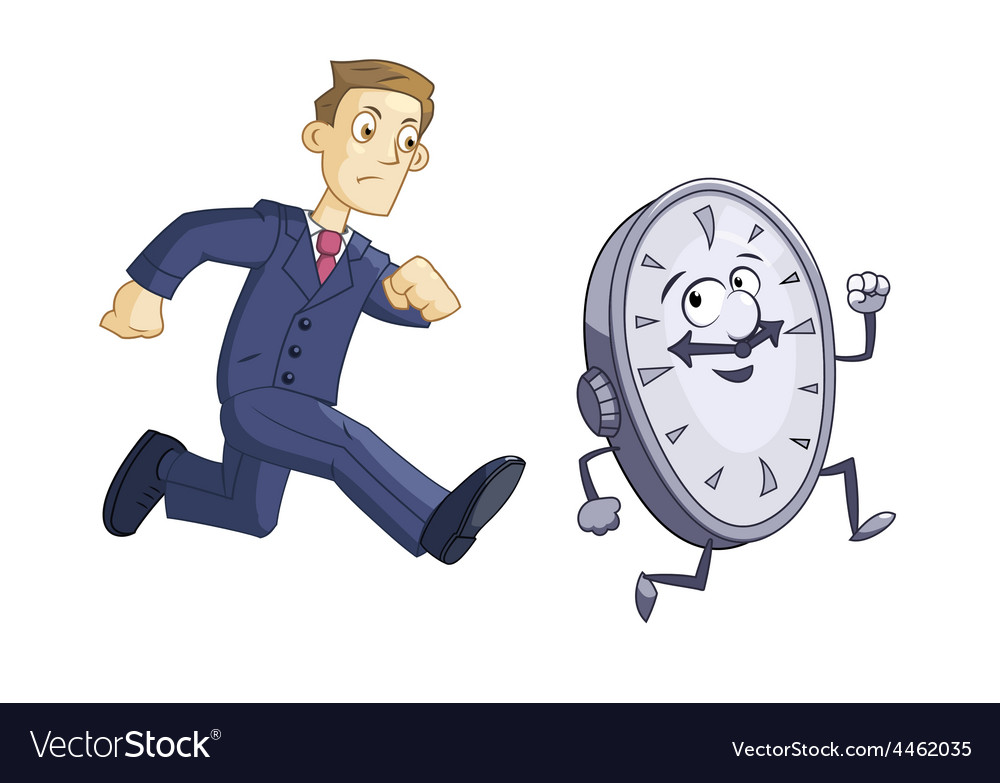 Businessman is chasing time vector