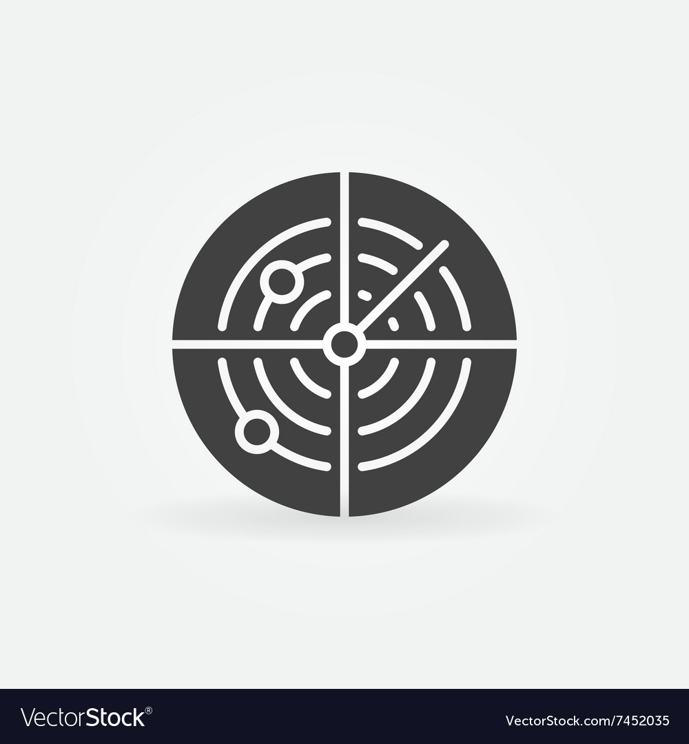 Dark radar icon or logo vector