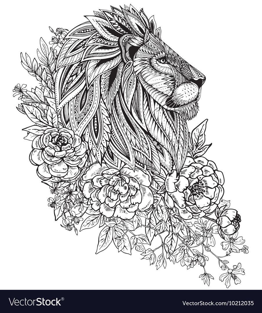 Hand drawn graphic ornate head of lion with ethnic vector