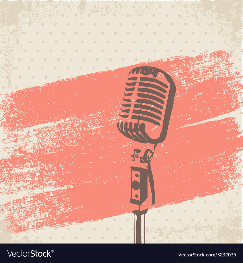 Retro microphone brush vector