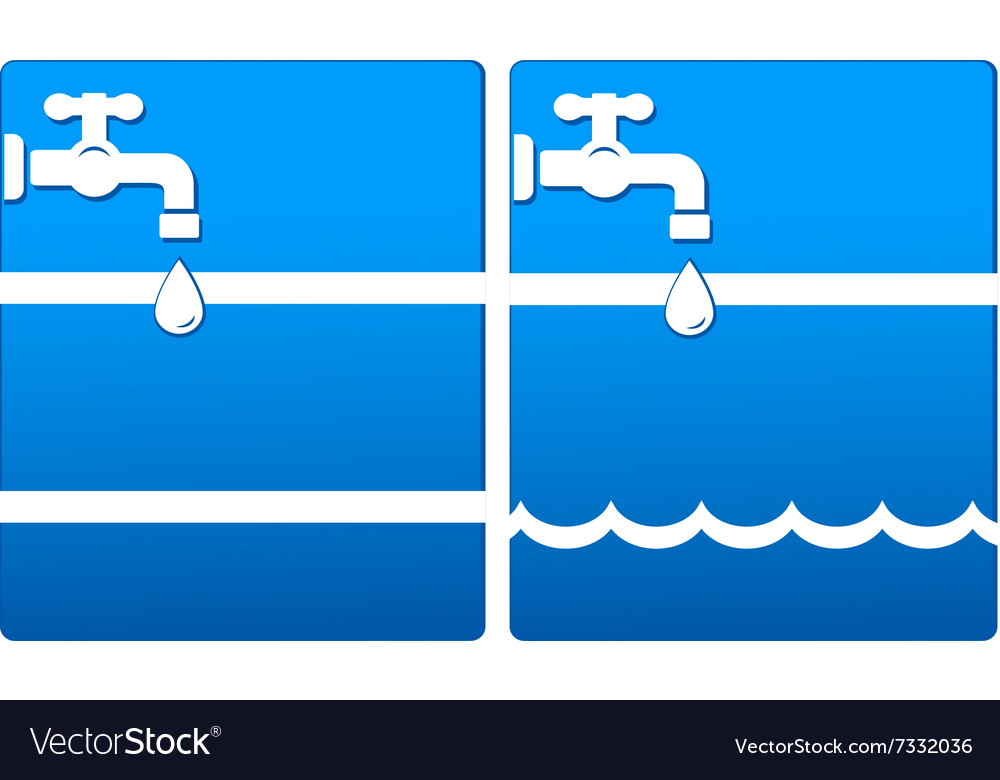 Background with tap and water drop vector