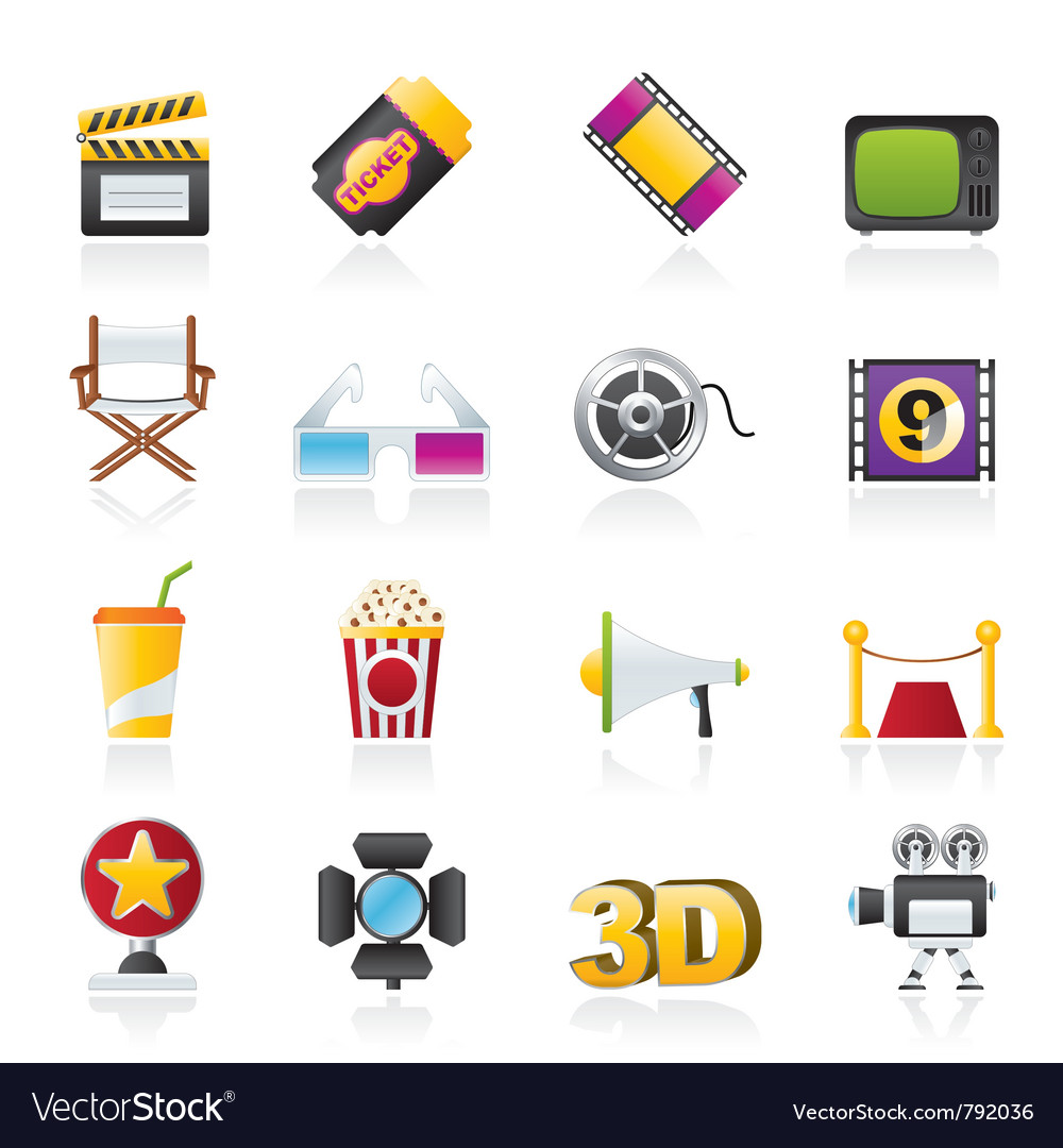 Cinema and movie icons vector