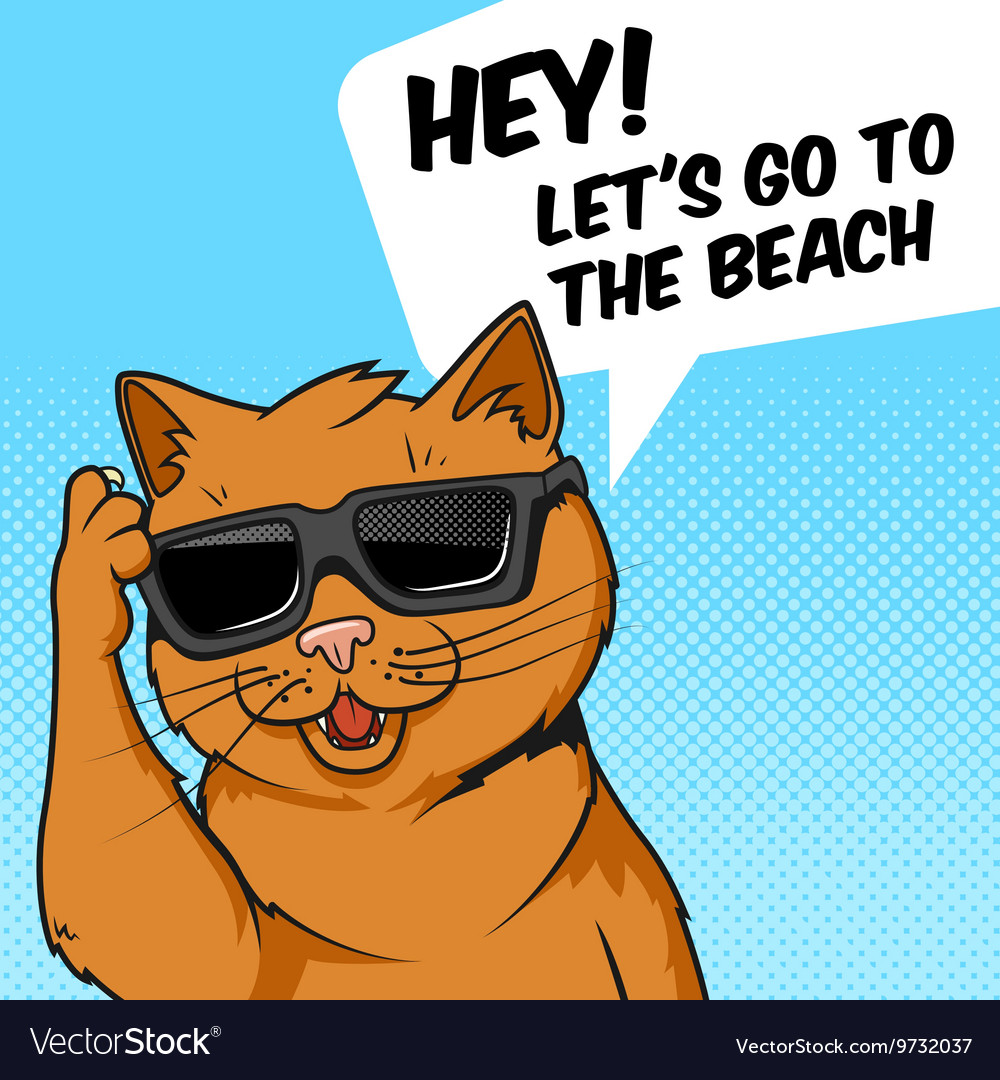 Ginger cat in sunglasses vector