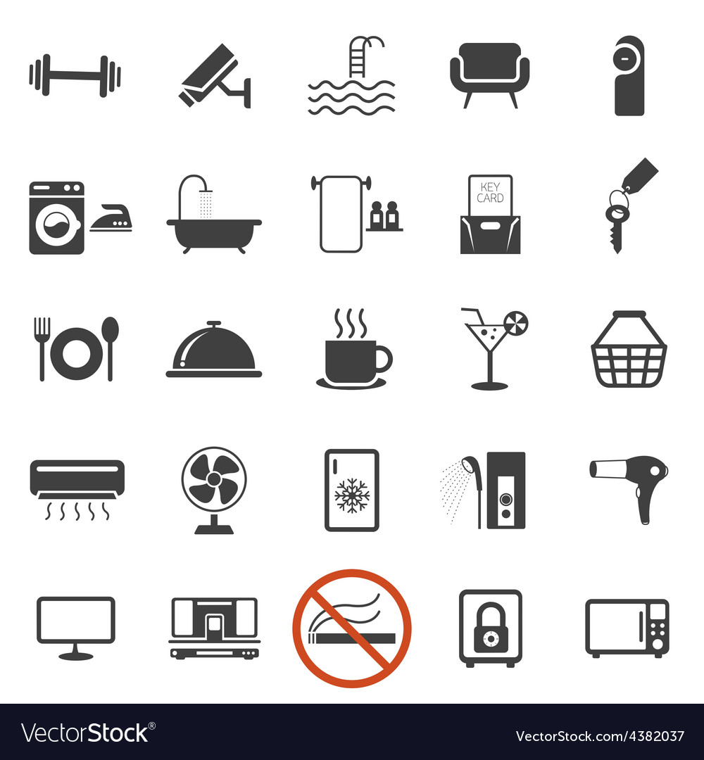 Hotel accommodation amenities services icons set b vector