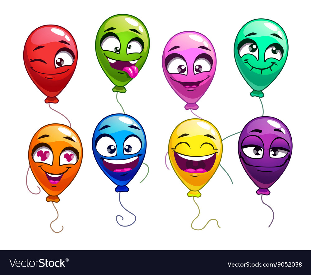 Funny cartoon balloons with comic faces vector