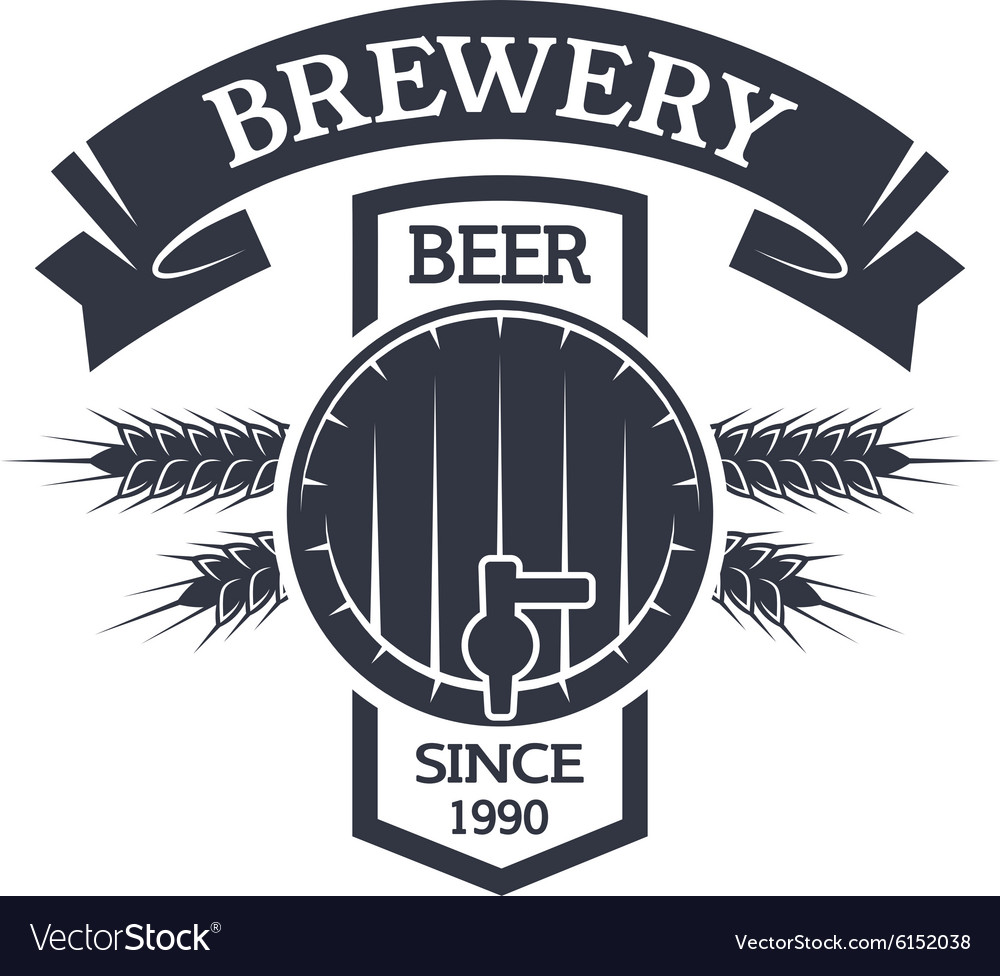 Keg beer brewing vintage emblem vector