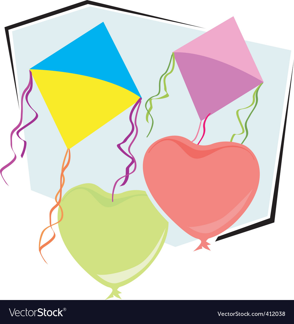 Kite and balloons vector