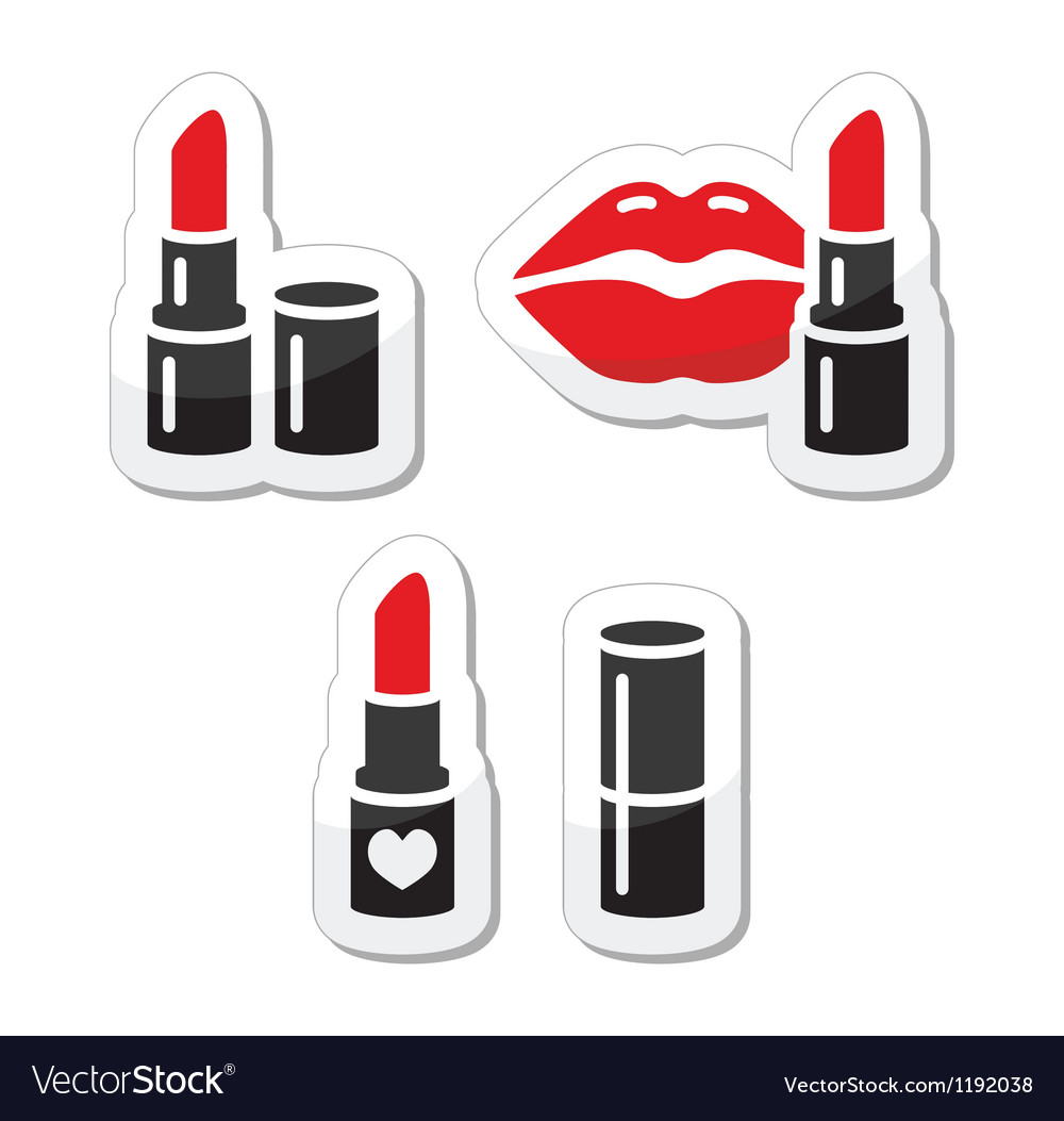 Lips and red lipstick icon set vector