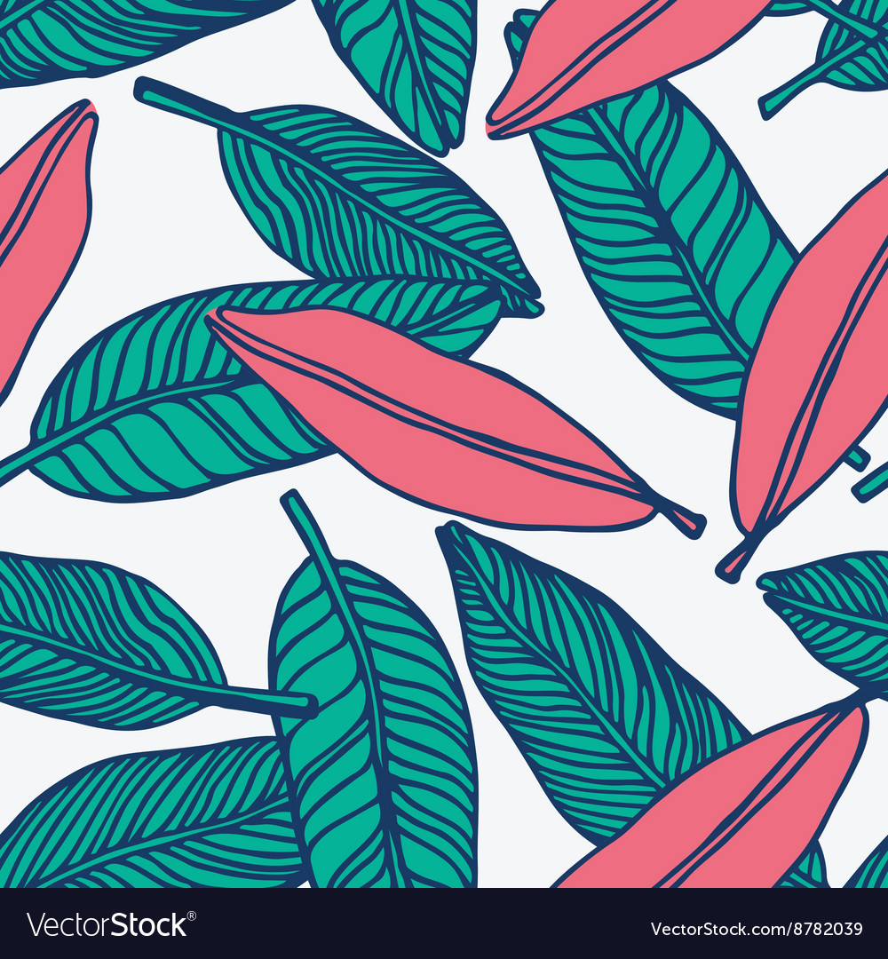 Seamless tropical jungle floral pattern background vector