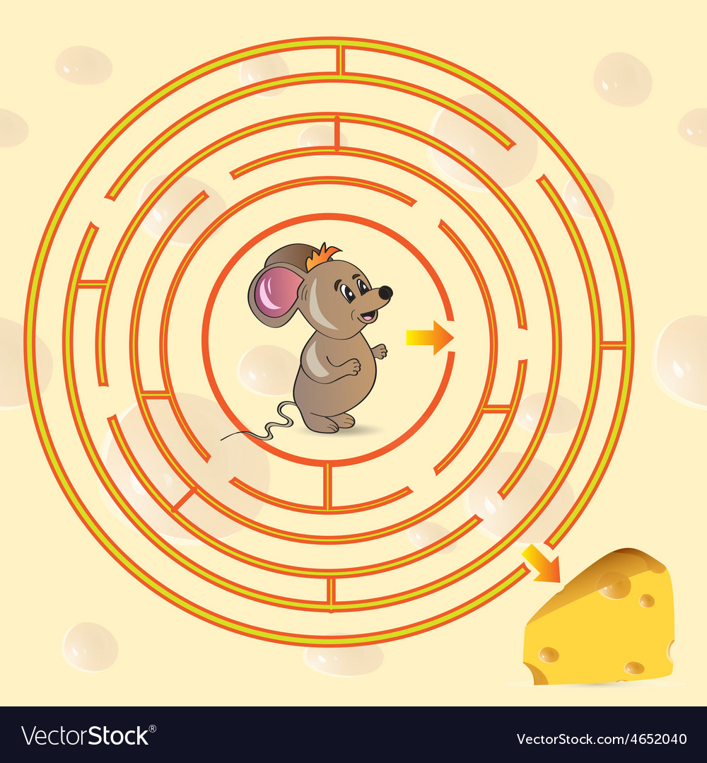 Cute mouses maze game vector