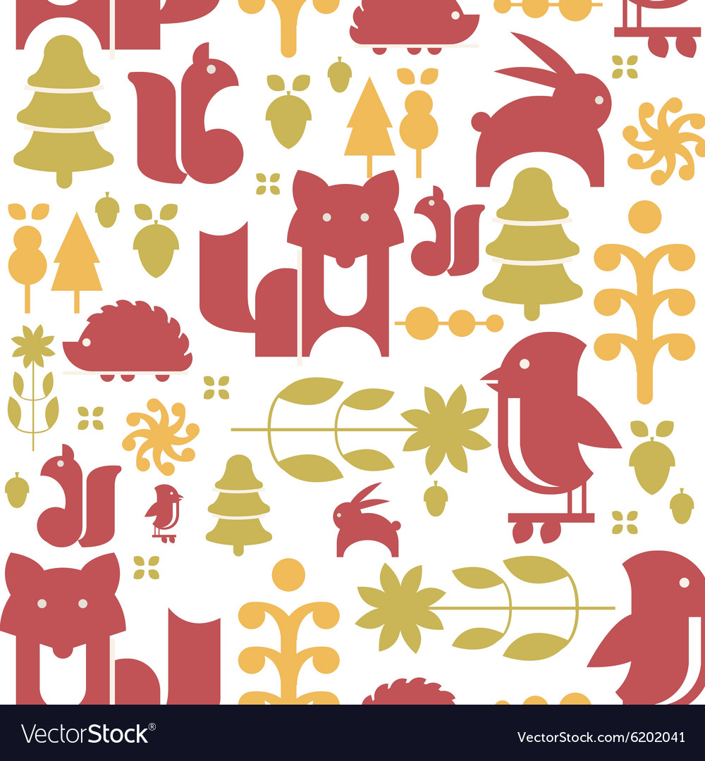 Autumn plants and animals in flat style seamless vector