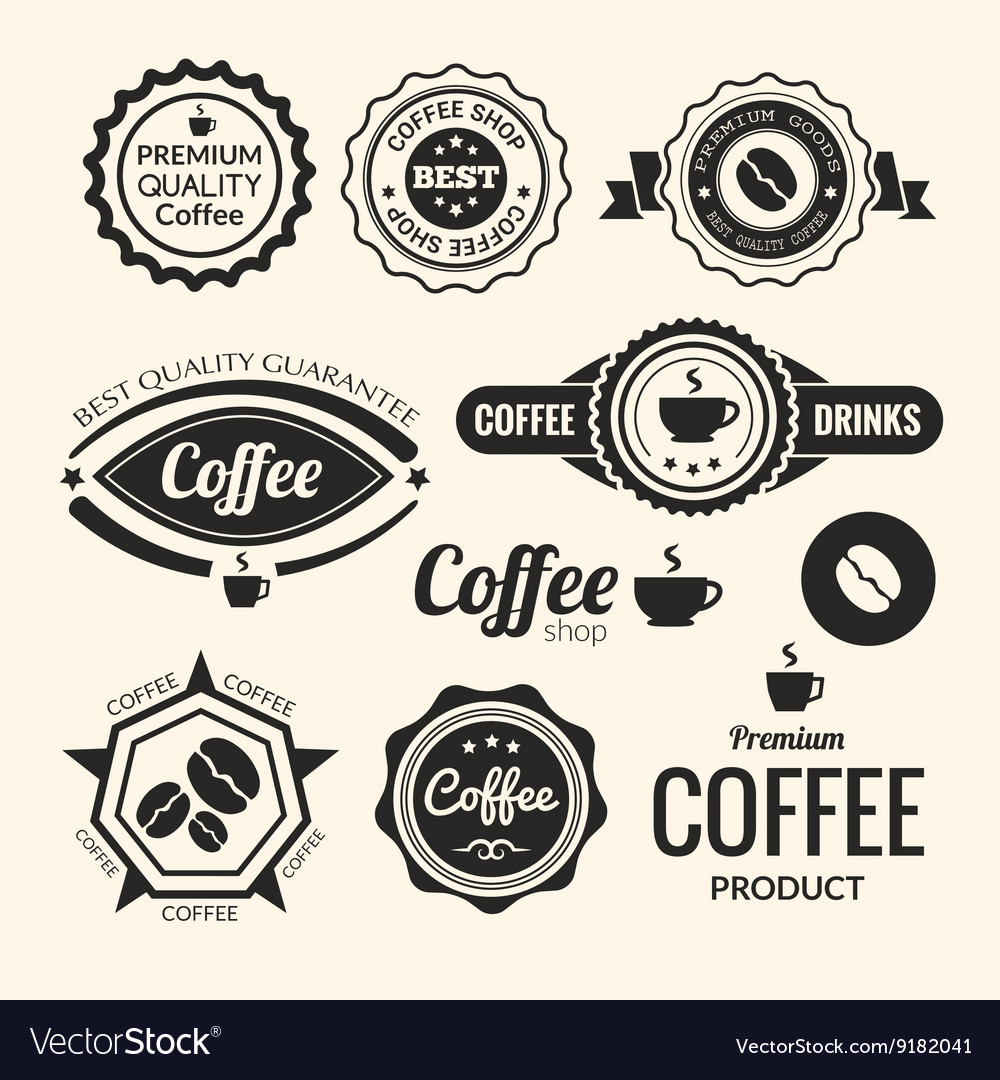 Set of monochrome coffee labels and badges retro vector