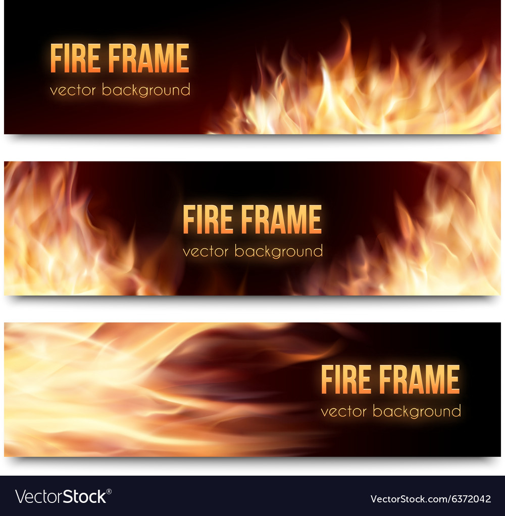 Banners set with realistic fire flames vector