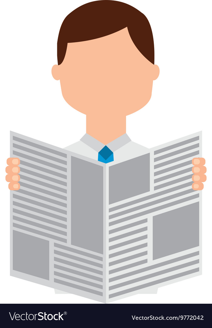 Newspaper reader isolated icon design vector