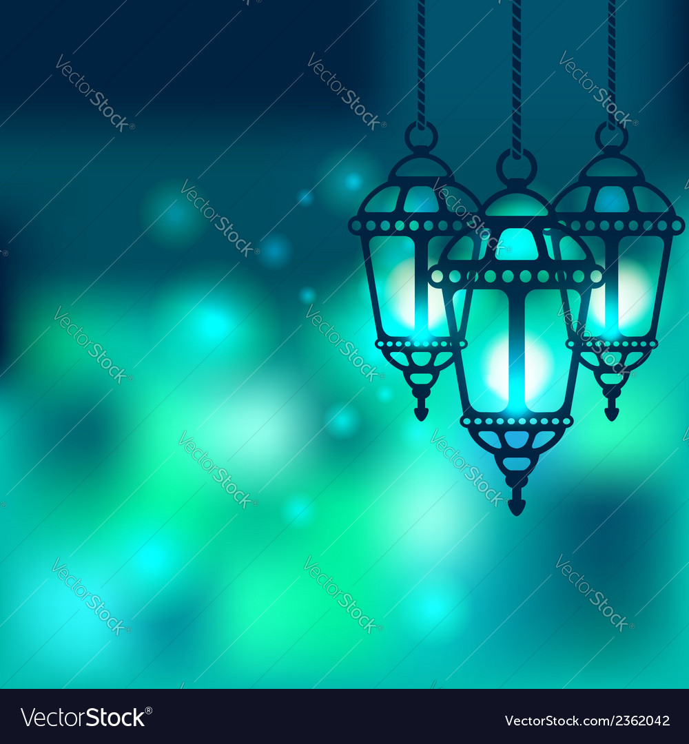 Ramadan lantern shiny background vector