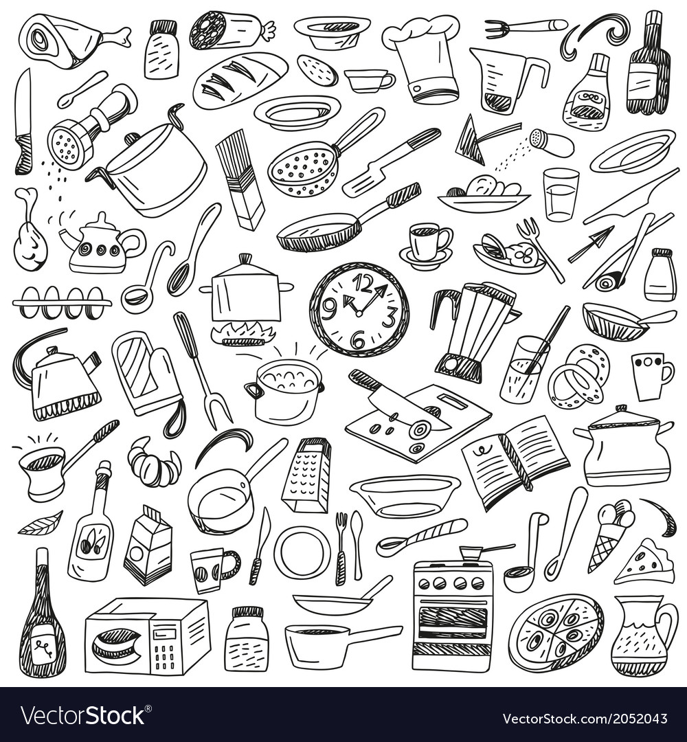 Cookery  doodles collection vector