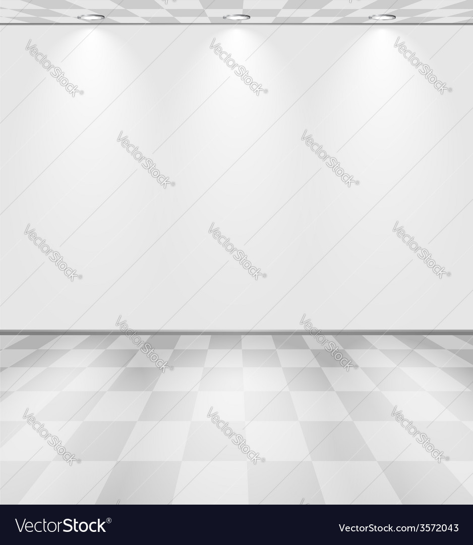 White lightened room with checkered floor vector