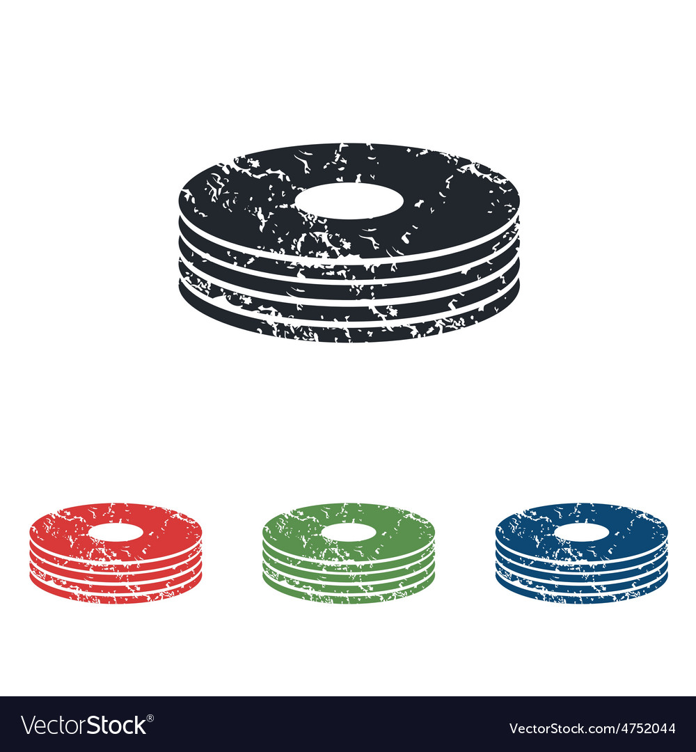 Disc pile grunge icon set vector