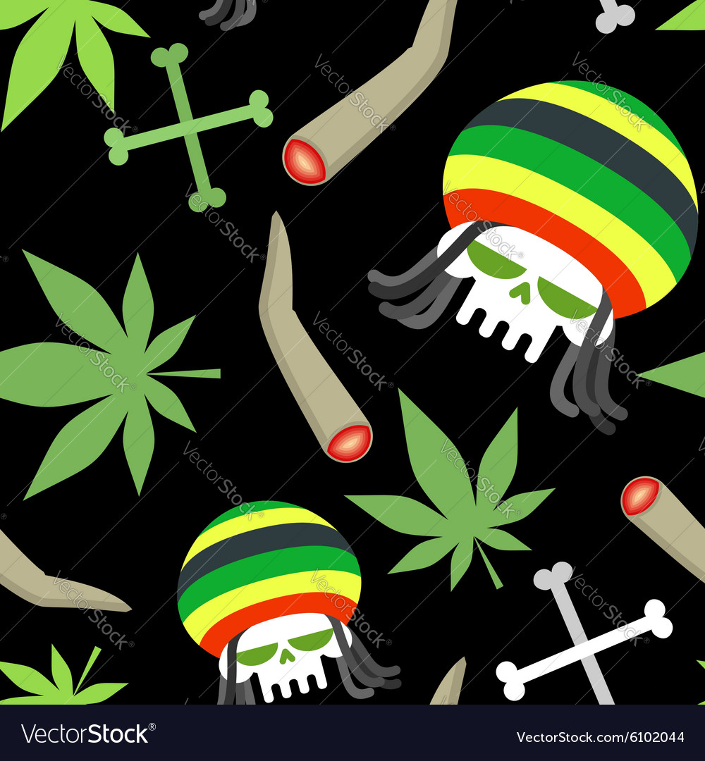 Rasta pattern seamless background from marihuanny vector