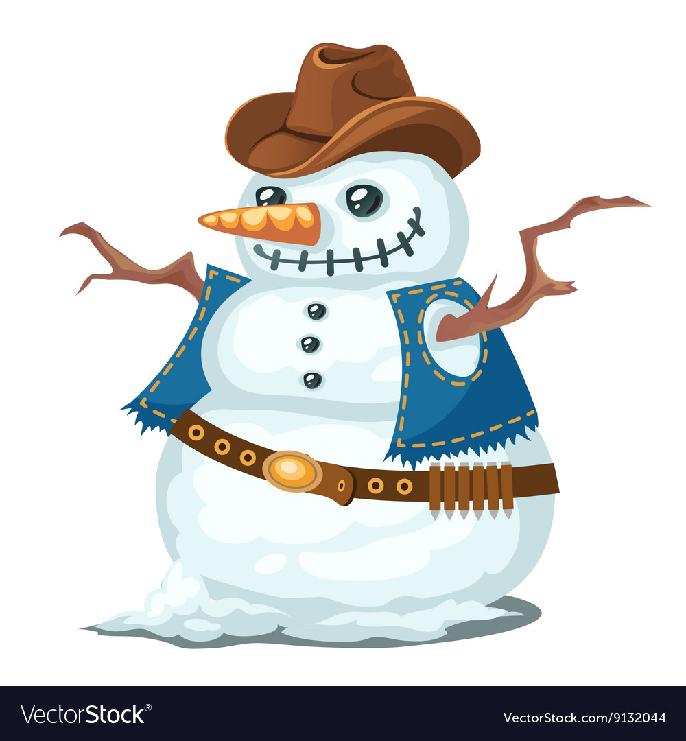 Unusual snowman with hat and vest cowboy style vector