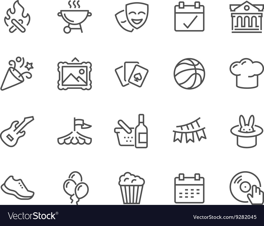 Line event icons vector