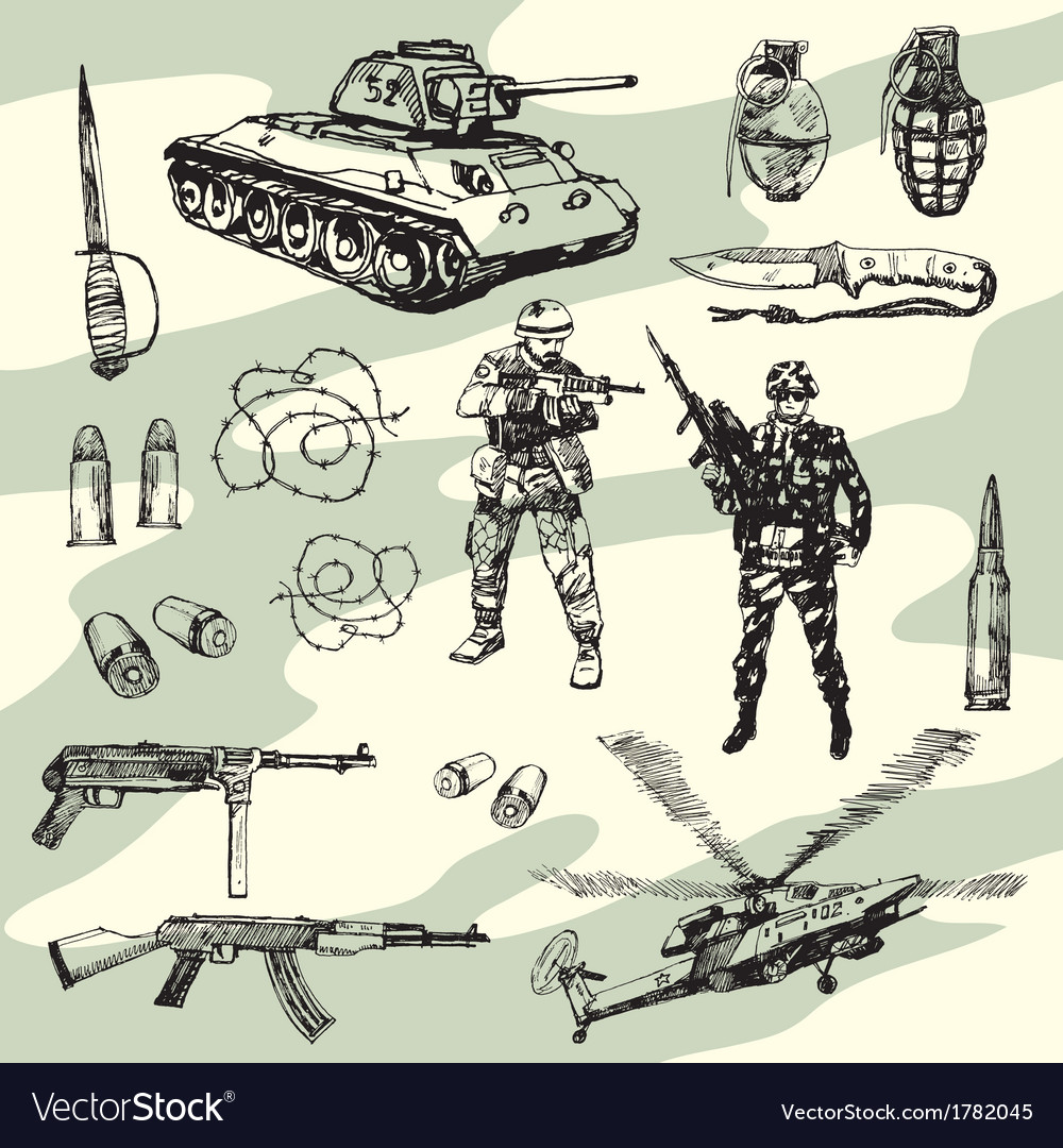 Military doodles vector