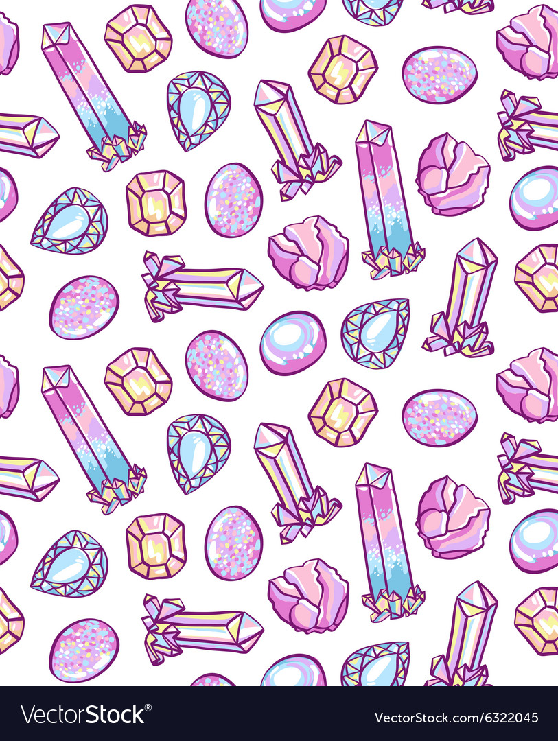 Seamless pattern of hand drawn precious stones on vector