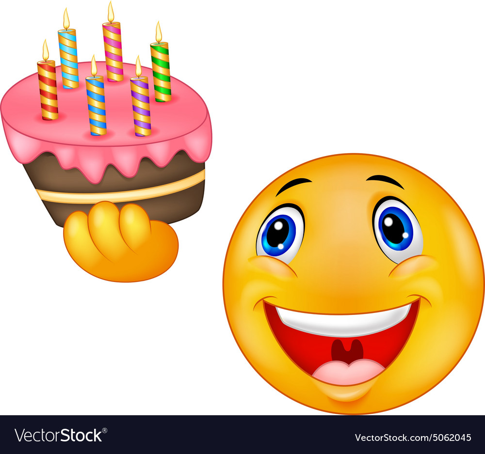 Smiley emoticon holding birthday cake vector