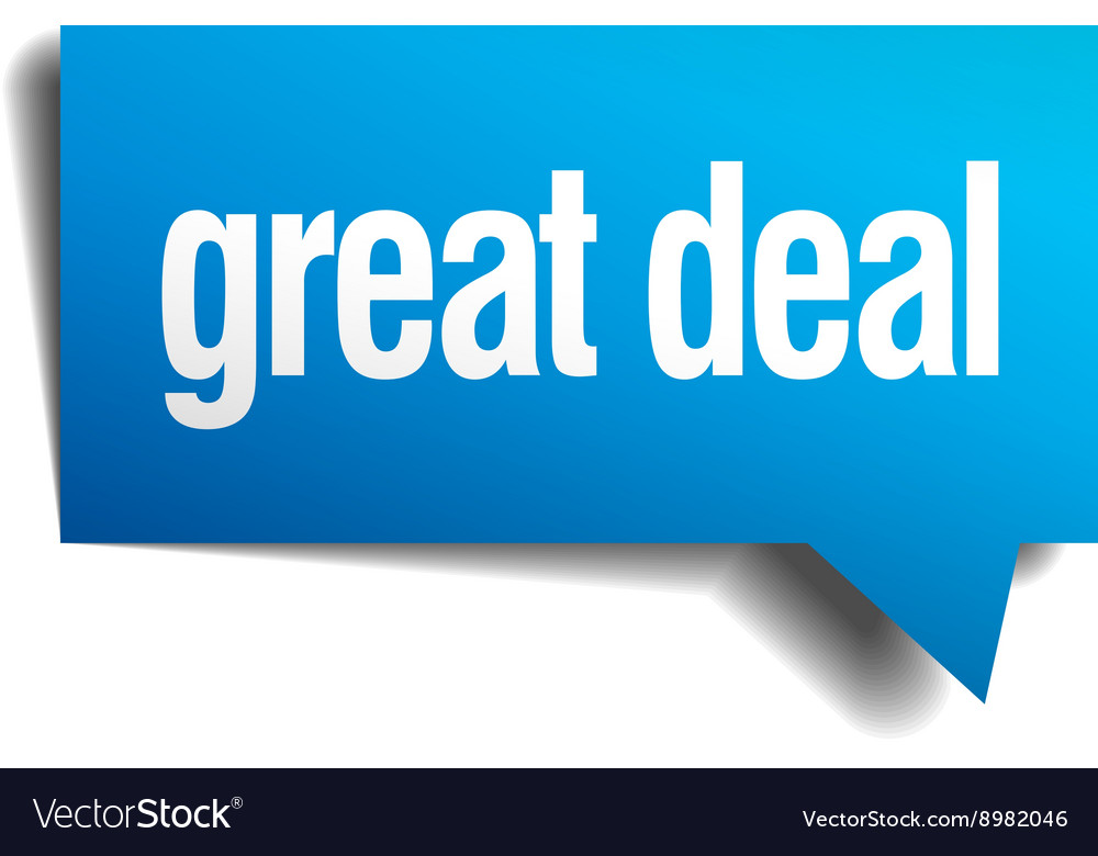 Great deal blue 3d realistic paper speech bubble vector