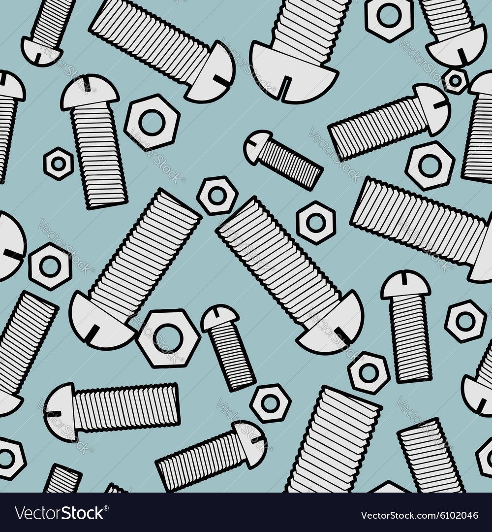 Iron bolts and nuts seamless background metal vector