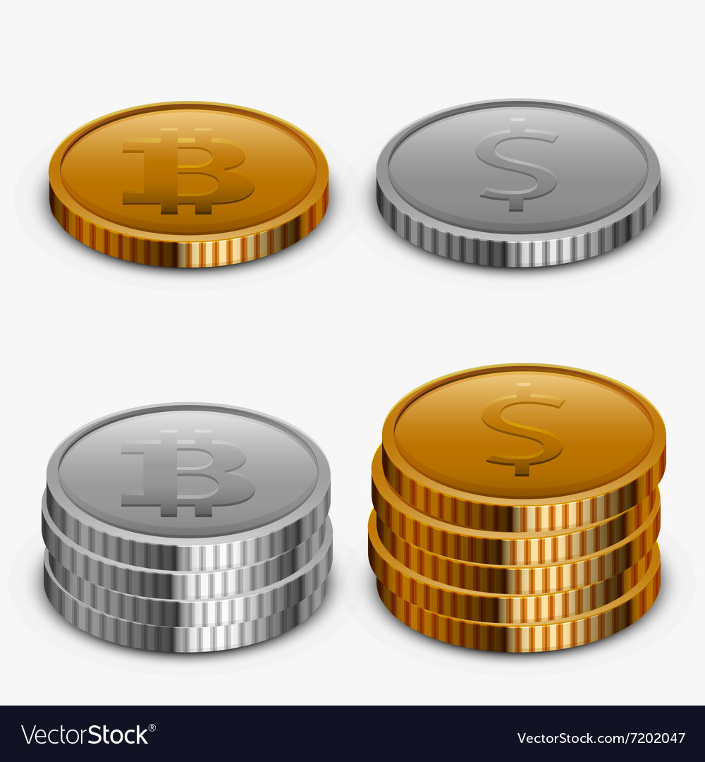 Modern gold and silver money collection vector