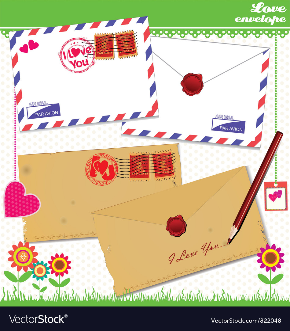 Love envelope  valentine scrapbook elements vector