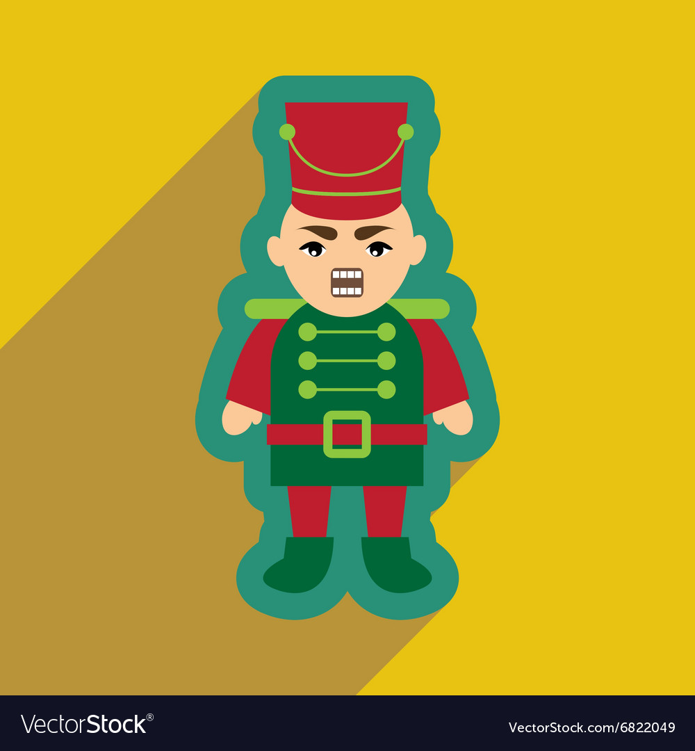Flat icon with long shadow nutcracker boy vector